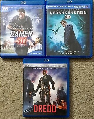 Gamer + I, Frankinstein + Dredd All Have 3D & 2D Dual Blu-Rays Mint Condition