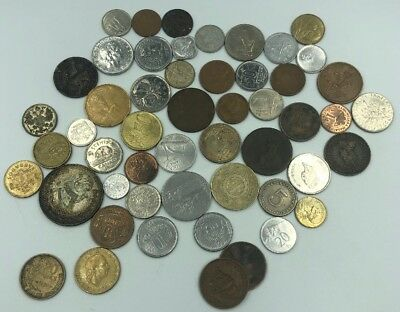 Bulk Lot of 52 Assorted World Foreign Coins- Nice Assorted Mix!