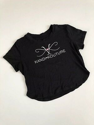 KANDI KOUTURE Cute BLACK Short Sleeve Cropped Top One Size EEUC