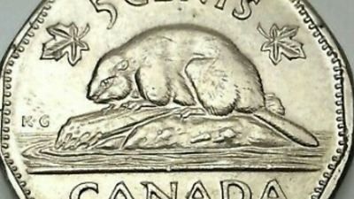 1947 Dot Canada Large 5 Five Cents Nickel Circulated Canadian Coin D463