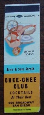 vintage pinup matchbook cover, Chee Chee Club,San Diego  California,