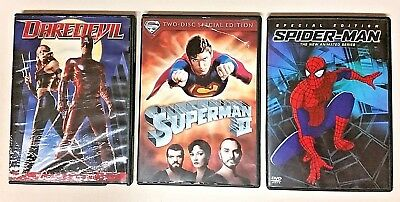 Lot Of 3 DVDs: Daredevil, Superman II, Spider-Man: The New Animated First Season