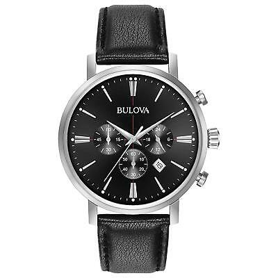 Bulova Men's Quartz Stainless Steel and Leather Casual Watch, Color:Black