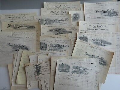 55 Vintage 1890s-Early 1900's Documents Lot Letterhead Documents Receipts A877
