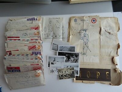 37 WWII Letters Lot Trench Art WW2 294 Infantry West Indies WW2 A873