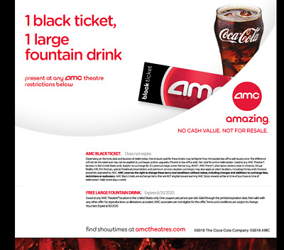 AMC Theatres Black Ticket, Large Drink and Large Popcorn