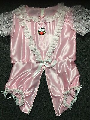 "Adult Baby Sissy Lockable Romper Pink Satin / Playsuit up to 46"" Chest"