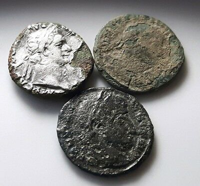 LOT OF 3 ANCIENT ROMAN BRONZE COINS Domitian Constantine - uncleaned