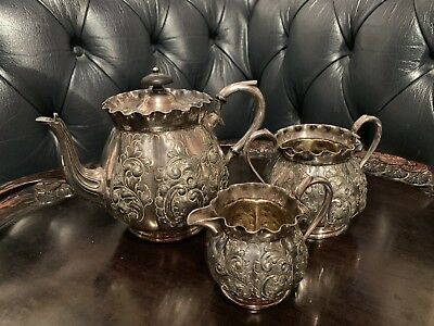 Antique Silver Plated Rococo Tea Set Teapot