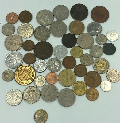 Bulk Lot of 46 Assorted World Foreign Coins- Nice Assorted Mix!