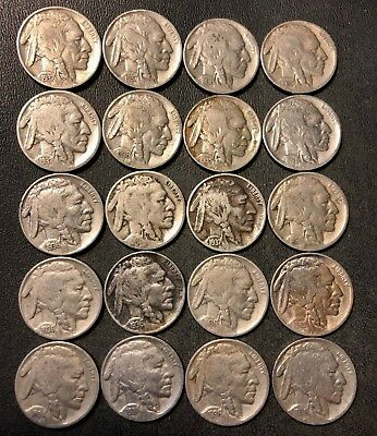 VINTAGE United States Coin Lot - BUFFALO NICKELS - 20 DATED Coins - Lot #D9