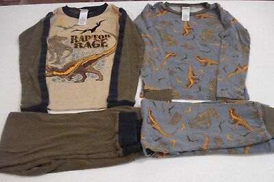 Boys Size 10 Snug Fit 4 Piece Pajama Set Long Sleeve Shirt, Pants Dino JCPenney