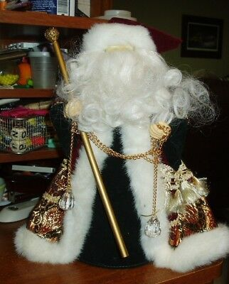 "Holiday Workshop Santa Tree Topper Or Table Decoration 11 1/2"" Tall"