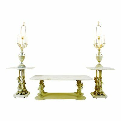 Hollywood Regency Italian Marble Candelabra End Tables & Coffee Table