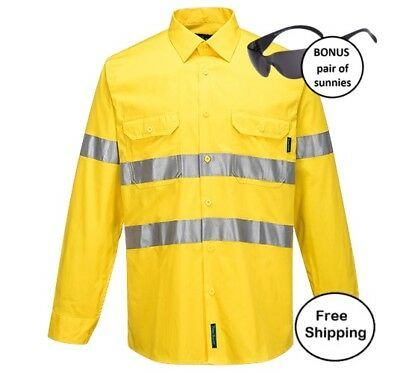 HiVis Lightweight Cotton Long Sleeve Shirt with Tape-YELLOW-PLUS safety sunnies