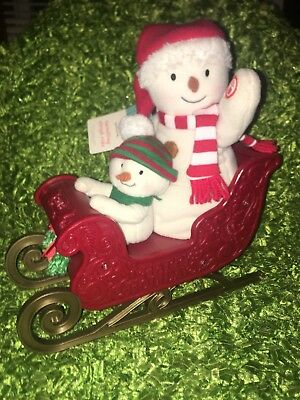 2016 Hallmark JINGLE PALS Animated Musical Snowmen Twinkling Sleigh Ride