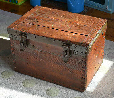 Beautiful lovingly restored vintage strongbox mid to late19th century