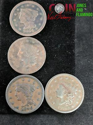 4 Us Large Cent Coins All Very Nice 1838, 1839 , 1846, 1854, Very Rare #16710
