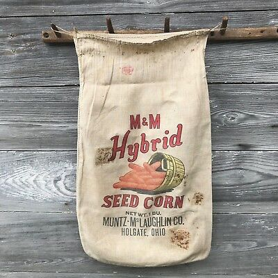 Vtg Org Cotton M & M Hybrid Seed Corn Sack Bag Muntz McLaughlin Holgate Ohio