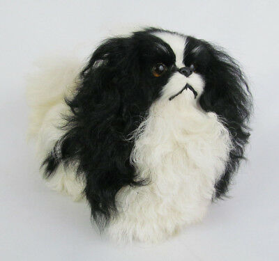 Vintage Hand-Crafted Real Fur Japanese Chin Figurine Statue Figure - Adorable!