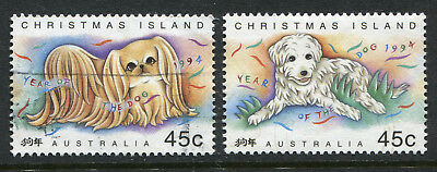 1994 Christmas Island.  Chinese New Year.  Year of the Dog.  Full set of 2 USED.