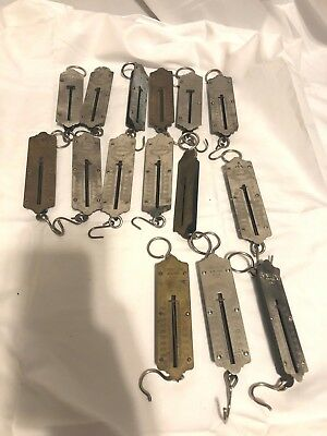 Lot of 15 Antique / Vintage Hanging Scales Chatillon American Scientific Brass