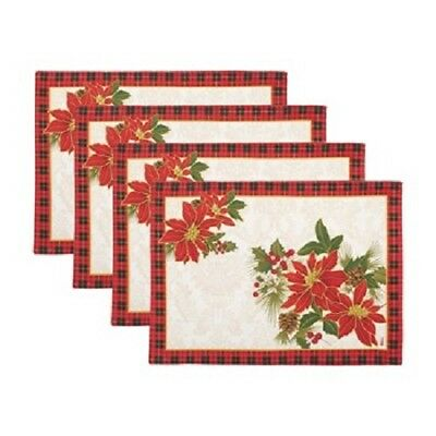 "NEW Set 4 QUILTED Plaid POINSETTIA PLACEMATS Christmas Holidays 13"" X 18"" Pine"