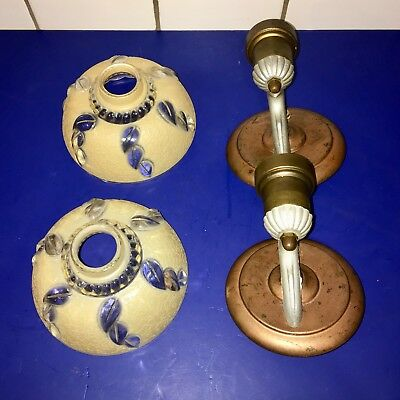 Mixed material vintage Art Deco heavy glass slip shade sconces 47B