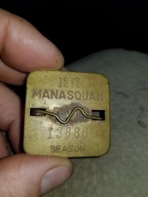*Vintage Manasquan NJ Metal Beach Badge Tag 1977 Season Jersey Shore