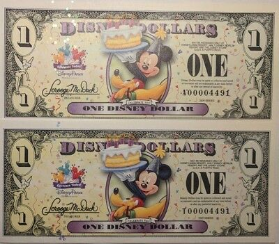 Scarce Matching 2009 Celebrate Today, Birthday Cake Disney Dollar  4 Digit