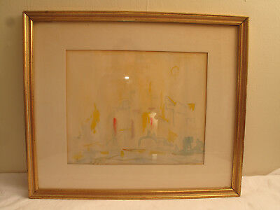 Vtg Sara Harris Orig Watercolor Painting Abstract Mid Century Modern Cityscape