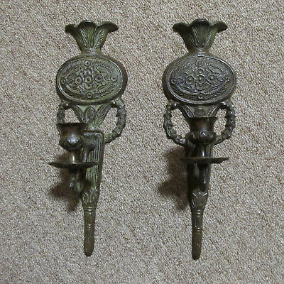 """Pair Of 12"""" Antique Heavy Metal Floral Design Candle Wall Sconces"""