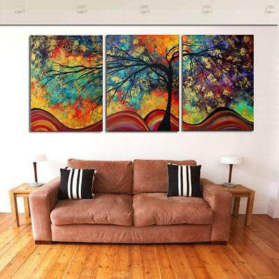 Landscape Art Painting Tree Forest Rainbow Abstract Canvas Dec