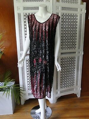 Circa 1920, Ladies Red And Black Sequin Flapper Era Dress/tabard