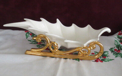 Vtg Atlantic Mold White Gold Ceramic Christmas Holly Leaf Sleigh Candy Dish 16""