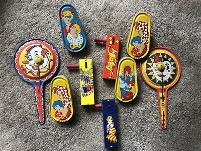 """Vintage Kirchoff """"Life of the Party"""" Metal Tin Noise Makers. Over 90 Pieces."""