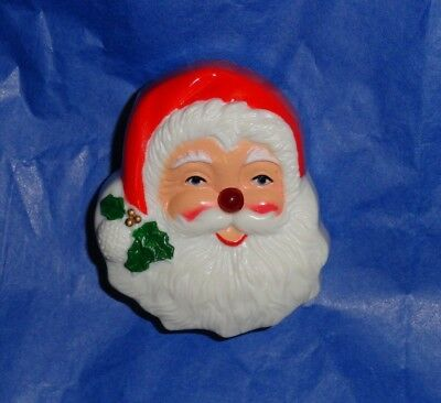 Vintage Working LIGHT UP RED NOSE SANTA CLAUS HEAD FACE Musical Xmas PIN Brooch