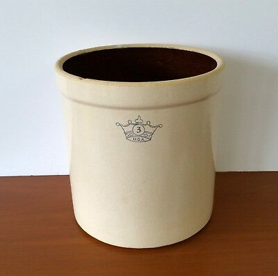 Antique Robinson Ransbottom Pottery Stoneware 3 Gallon Crock Crown U.S.A