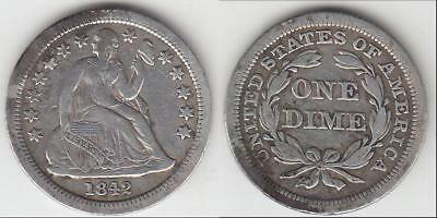 Better Date 1842 Liberty Seated  Dime Vf-Xf Details