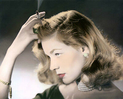 "LAUREN BACALL HOLLYWOOD ACTRESS & MOVIE STAR 8x10"" HAND COLOR TINTED PHOTOGRAPH"