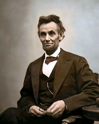 """ABRAHAM LINCOLN 16th US PRESIDENT 1865 CIVIL WAR 8x10"""" HAND COLOR TINTED PHOTO"""
