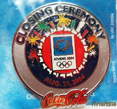 2004 Coca-Cola Athens Olympics Closing Ceremony Lapel Pin-1.5 Inch - Mint In Pkg