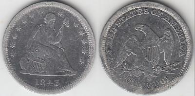 Reduced!! Better Date 1843-O Seated Liberty Quarter F-Vf