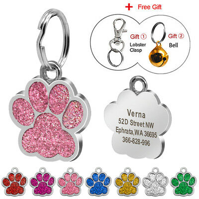Glitter Personalized Dog Tags Paw Print Disc Free Engraved Dog Collar ID Tags