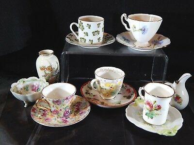Lot of 5 Small Demitasse Tea Cups & Saucers, Matched & Mismatched Piece Vintage