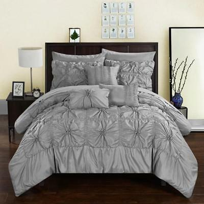 NEW King Size Chic 10 Pc Comforter Set Gray Bed in a Bag Pinch Pleated Ruffled