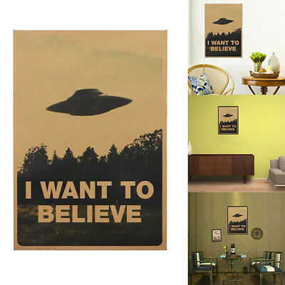 "Vintage Poster ""I Want To Believe"" Wall Stickers Room Decal Home Decor Supply"