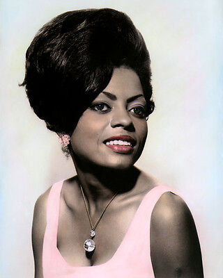 """DIANA ROSS AFRICAN AMERICAN SINGER ACTRESS 8x10"""" HAND COLOR TINTED PHOTOGRAPH"""