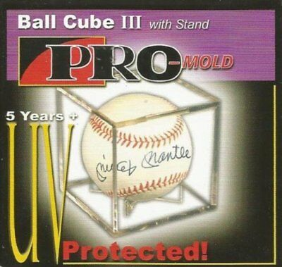 (1) BASEBALL PROMOLD SQUARE CUBE 5 YEAR UV PROTECTION DISPLAY HOLDER With STAND