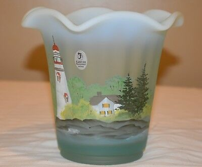 Fenton Glass American Gallery Lighthouse hand painted vase - signed.